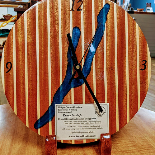 Kenny Creations Striped Keuka Clock W/ Resin Inlay
