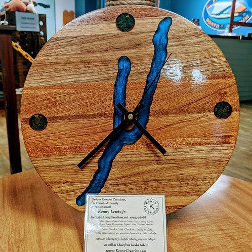 Kenny Creations Keuka Lake Clock with Resin Inlay