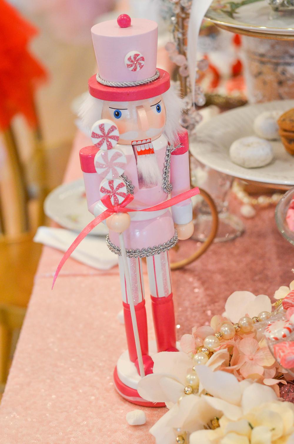 pink nutcracker detail for tea party theme