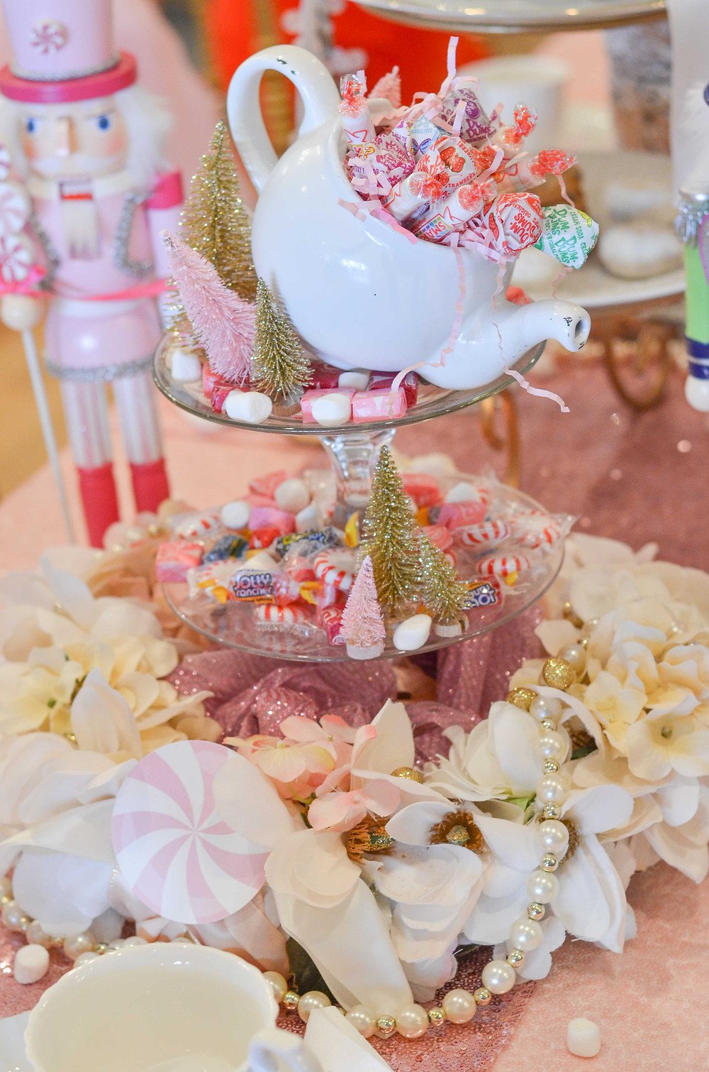 teapot of sweets at tea party