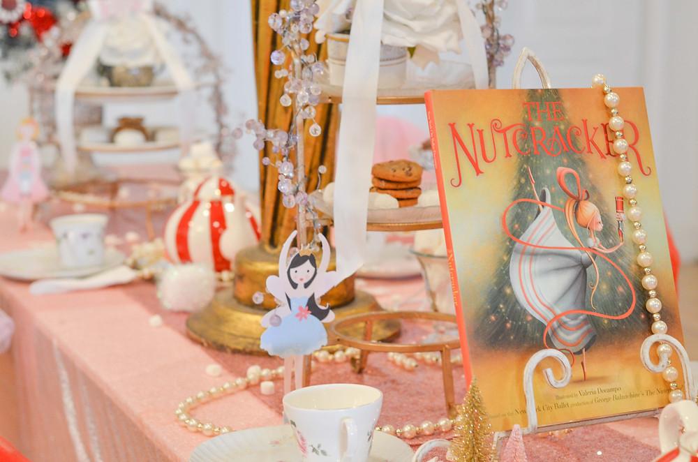 nutcracker book on tea party table
