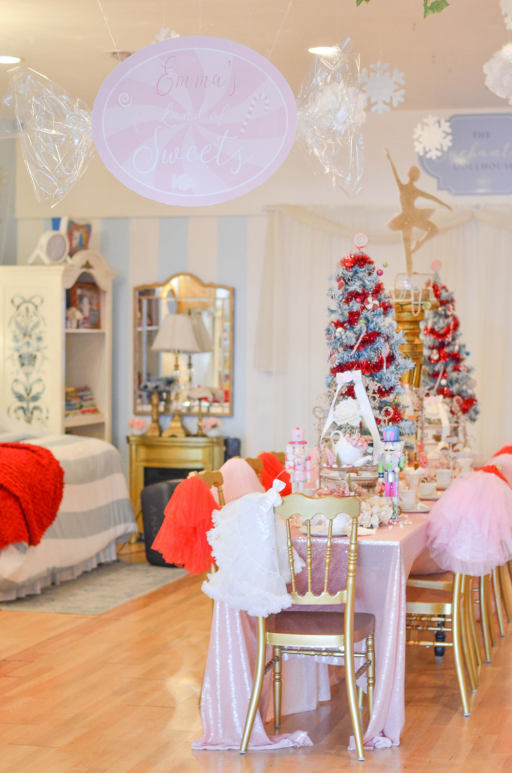 land of sweets banner and tea party decor