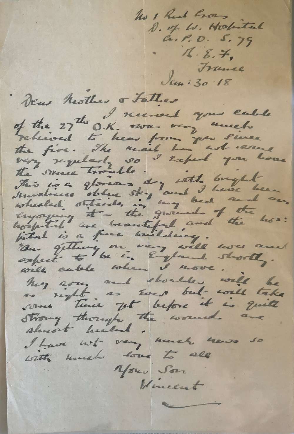 January 30, 1918 letter home from the Duchess of Westminster Hospital France