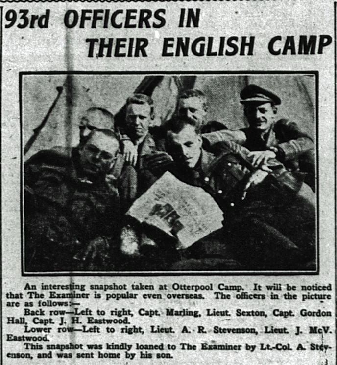 Vincent along with the other Officers at Otterpool camp 1916