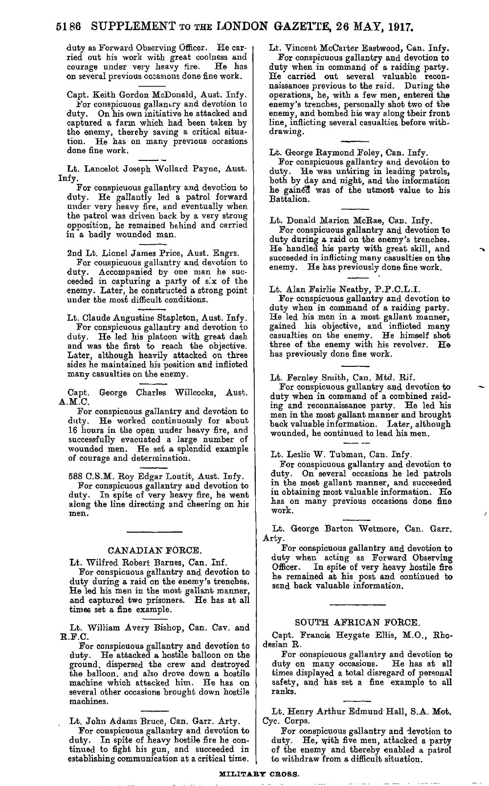 Military Cross Recipients London Gazette May 26,1917