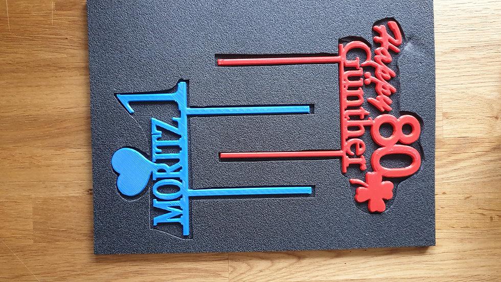 CAKE Topper -individualisierte Einzelstücke aus Holz und Kunststoff,