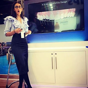 Dr Rhona Eskander, Cosmetic Dentist in London, speaks at an event