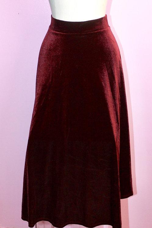 Burgundy Velvet Skirt