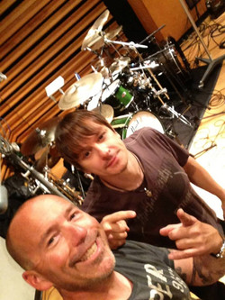 Korn's Ray Luzier in the studio.
