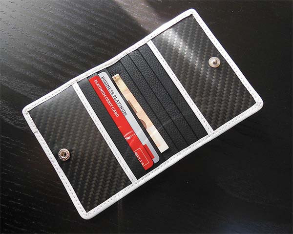 Carbon fibre and leather credit card holder
