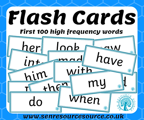 First 100 high frequency words flash cards