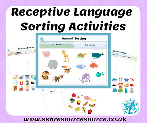 Receptive language sorting activities
