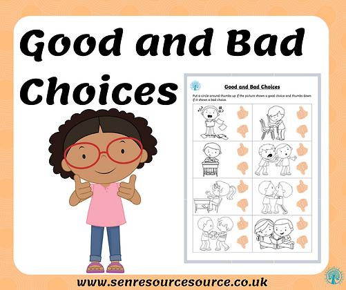 Good and Bad Behaviour Choices Worksheet version 2