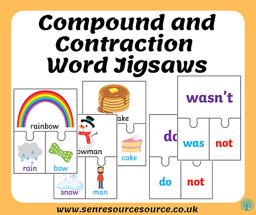 Compound and Contraction Word Jigsaws