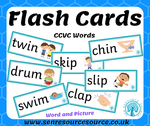 CCVC words and picture flash cards