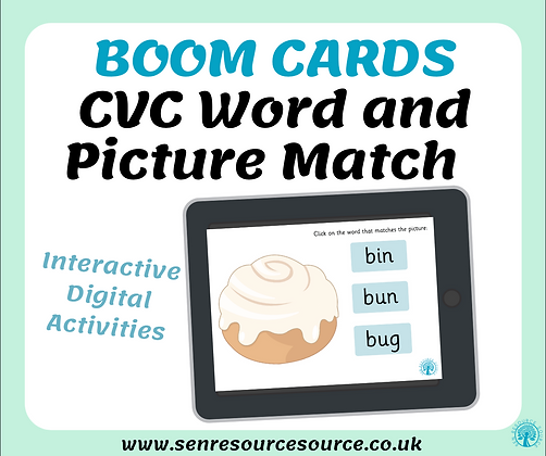 CVC Word and Picture Match Boom Cards