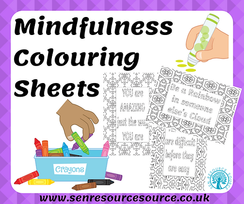 Mindfulness colouring with positive quotes