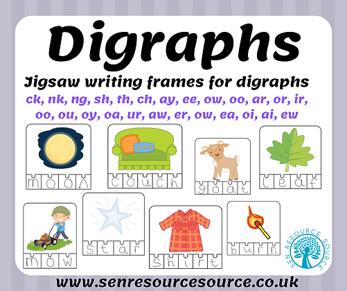 Digraph word writing frames