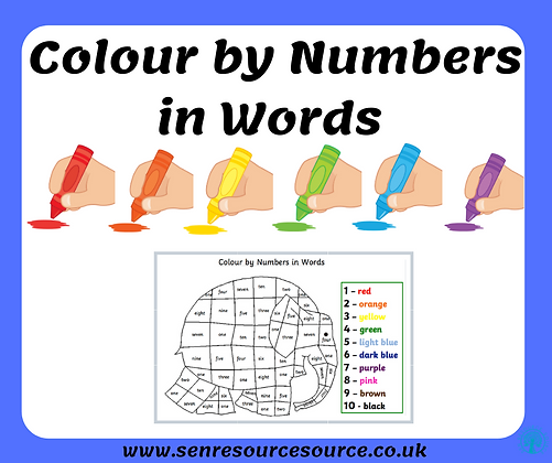Elephant colour by numbers in words worksheet
