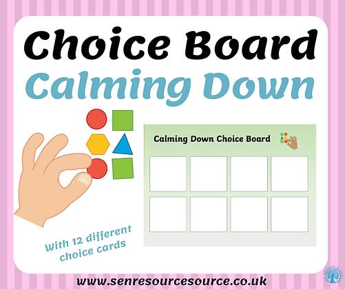 Calming down choice board