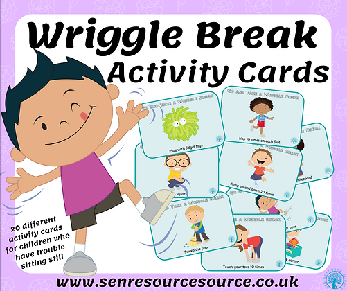 Wriggle Break Cards for children with ADHD or who struggle sit still