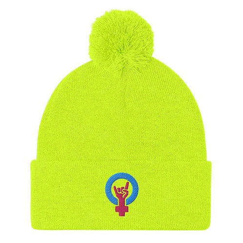 Neon Yellow Pom-Pom Beanie
