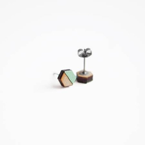 ONLY ONE LEFT Wooden Hex Earrings