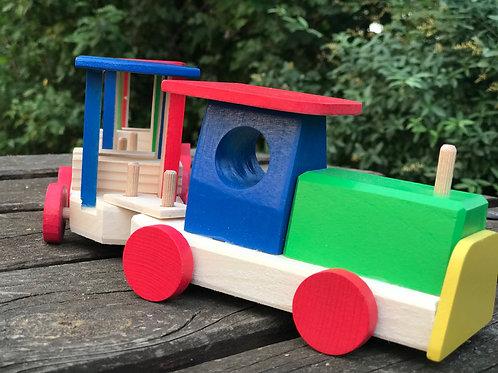 Trenino di legno colorato con 2 vagoni