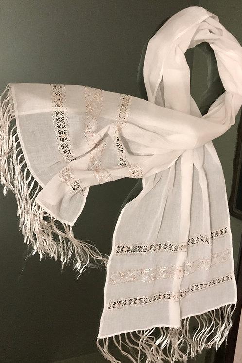 Sciarpa 100% cotone con ricami in seta