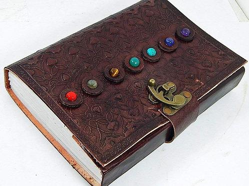 Quaderno Appunti in Pelle con pietre, artigianale, con Fogli Bianchi, 15x21 cm
