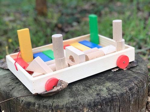 Set di costruzioni di legno naturale per bambini