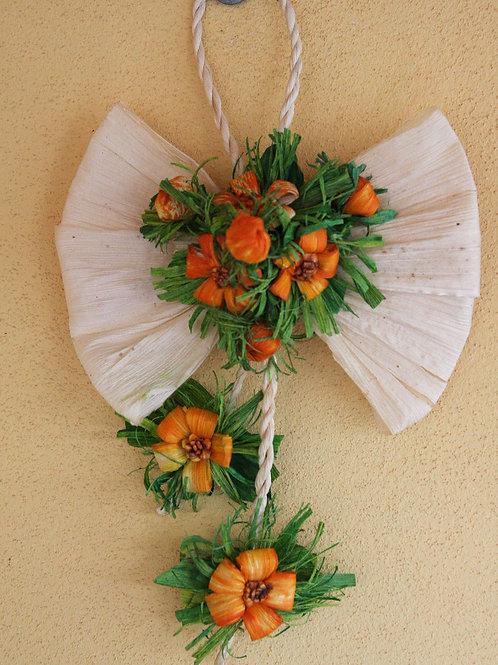 Decorazione Fiocco con fiori lavorata a mano