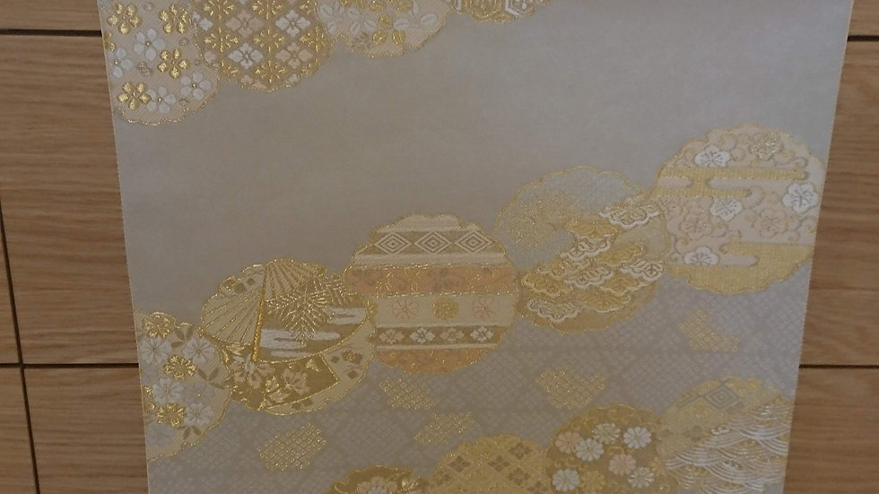 小森織物 白地 袋帯 花丸