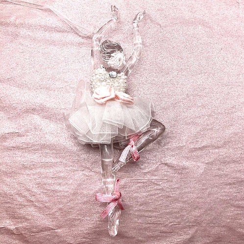Ballerina Ornament - Clear with Pearls