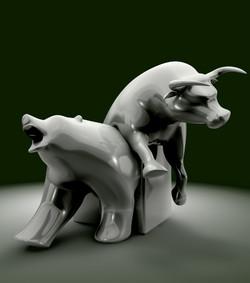 Bull And Bear Economic Trend Statue