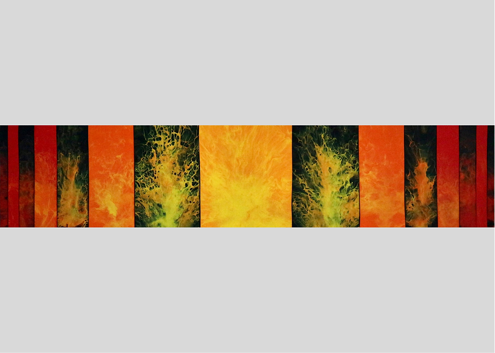 An abstract artwork inspired by fire. The work is made up of smaller acrylic pours on MDF panels combined together to make a wide, short painting. The panels are painted in flame colours of red, orange and green, alternating between a background of black and a coloured background.