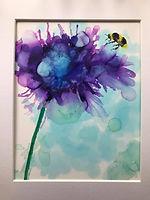 Bee on Blue Flowers sold.jpg