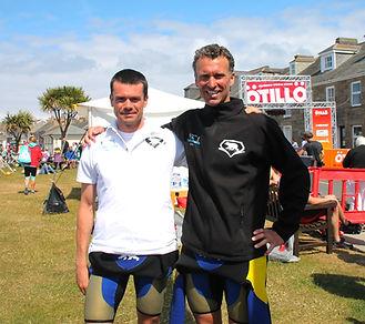 Andrew Fargus (left) and Richard Stannard, winners of theÖTILLÖSwimrun on the isles of Scilly