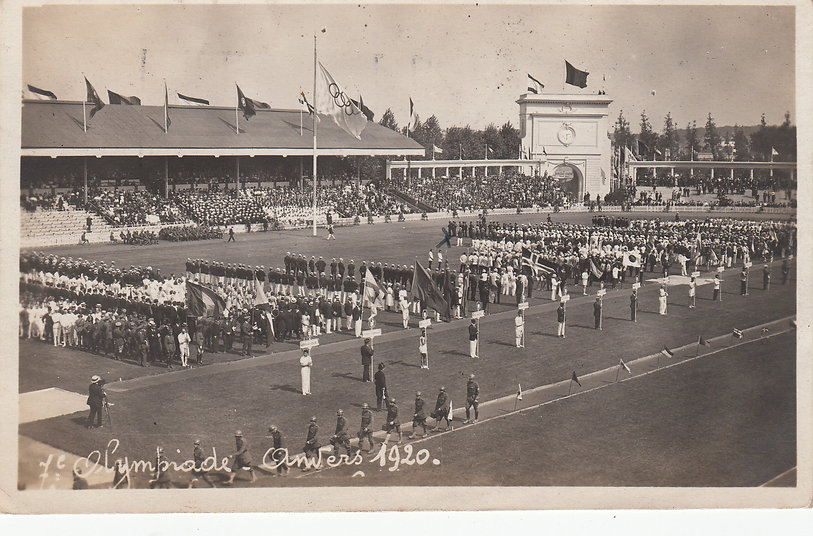 The Opening ceremony of the VII Olympiad, Antwerp, 1920 when the Olympic flag was flown for the first time
