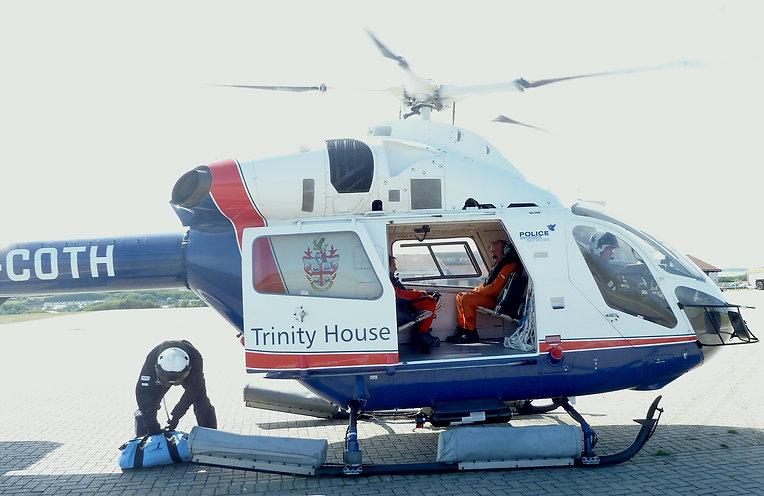 Trinity House helicopter preparing to take engineers to Bishop Rock lighthouse © Jon Mackenzie