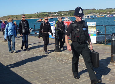 Sgt Colin Taylor on St Mary's quay, Isles of Scilly