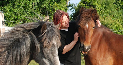 Author Katharina Marcus and her mares