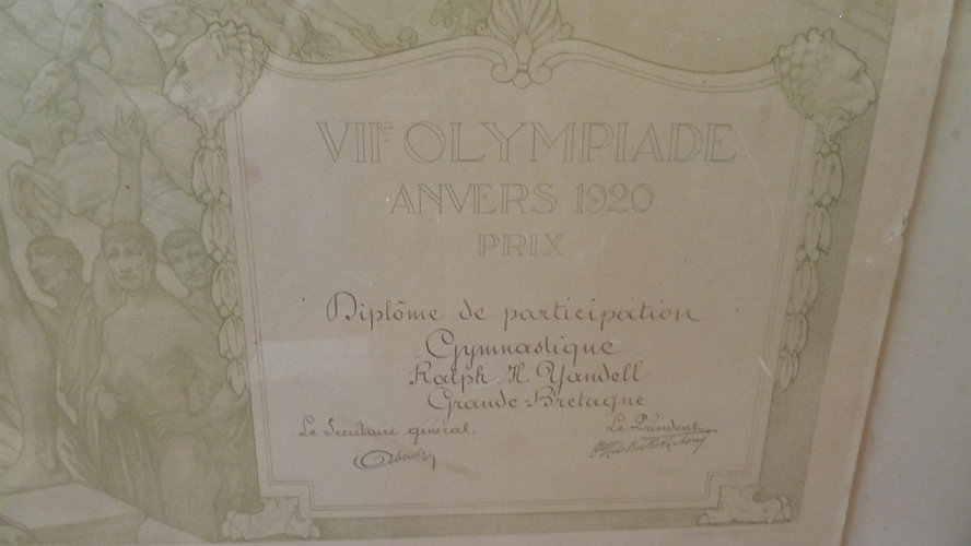 Certificate of participation at the 1920 Olympics