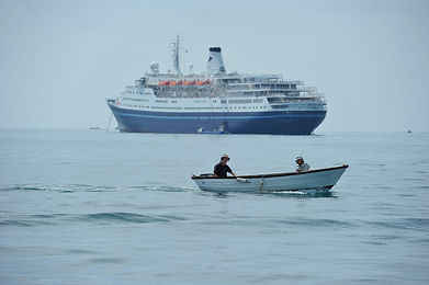 Cruise ship anchored in the Isles of Scilly