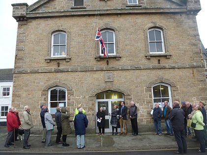 Flag raising ceremony on St Mary's, Isles of Scilly to commemmorate the 90th birthday of Queen Elizabeth II