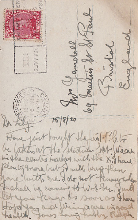 A postcard from British gymnast Ralph Yandell sent from the 1920 Olympic Games