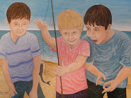 Boys fishing by John Goody