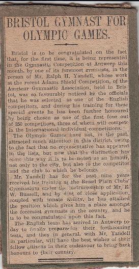 Local Bristol newspaper cutting, 1920