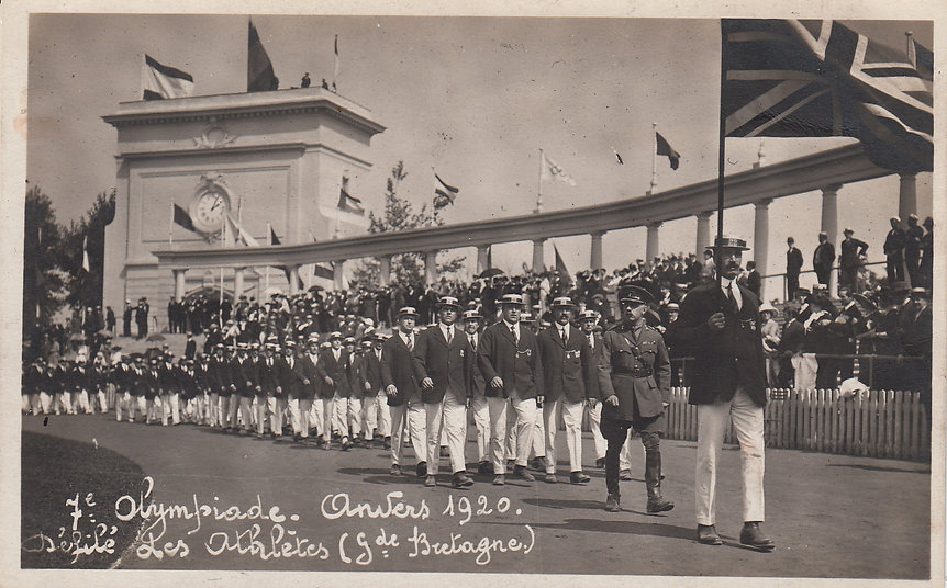The British team at the Opening ceremony, Antwerp, 1920