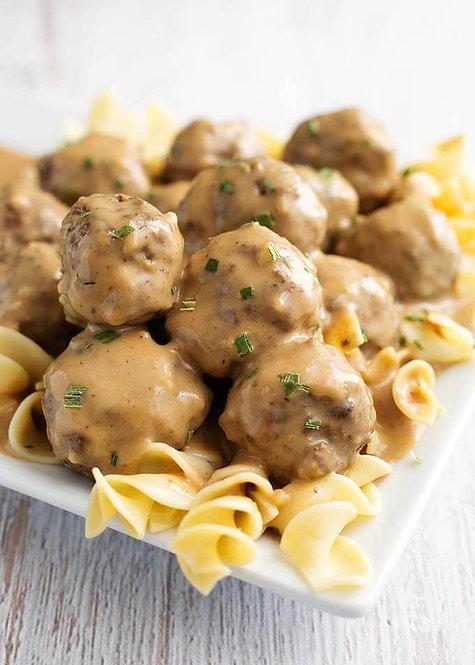 Swedish Meatball over Egg Noodles